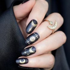 Gold and black nails with Celestial Ring #paintings