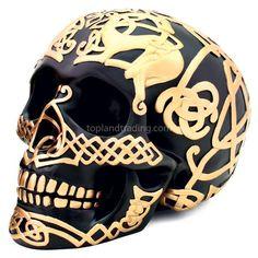 Black Celtic Skull with Gold Celtic Design - Gothic Home Decor Large Black Satin Skull Statue with Gold