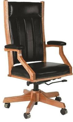 Amish Upholstered Mission Office Chair with Gas Lift Here's a desk chair you'll want to run to! Luxurious custom upholstery, supportive back, fine wood, perfect construction and more!