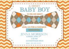 DIY Printable Baby Shower Invitation with Bow Tie Blue and Orange Invitation by PerfectedbyGrace on Etsy