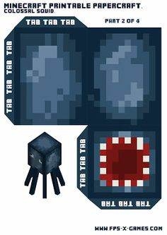 Large papercraft Minecraft squid template 2 of 4
