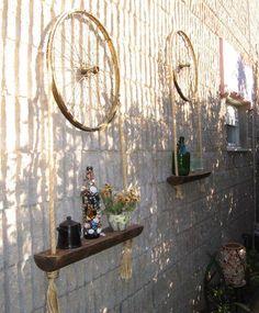 bike wheel shelf via Recyclart