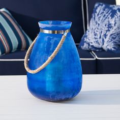 Eventide Tall Lantern Exterior Lighting, Outdoor Lighting, Lighting Ideas, Classic Candle Holders, Tall Lanterns, Decorative Objects, Sea Glass, Home Interior Design, Navy And White