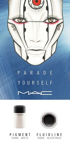 Seize the future with #MACSpaceSquad! Indulge in unearthly android beauty on Halloween with this sleek Cyborg transformation by artist Ashley Tiopo. Created using Pigment in White and Fluidline in Blacktrack.