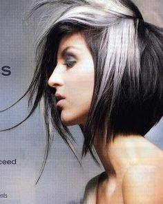 black hair with silver and blonde highlights - Google Search