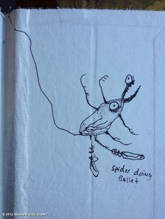 Matthew Gray Gubler's photo: spider doing ballet in my copy of Huckleberry Finn