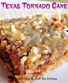 Texas Tornado Cake Recipe ~ This delicious cake is made with fruit cocktail in the batter & has a streusel-nut topping. A boiled coconut topping is poured over the cake while hot.