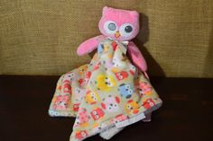 Girls Blankets & Beyond Pink Owl Nunu Lovey Security Blanket - Pacifier Holder #BlanketsBeyond