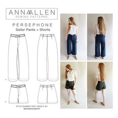 The Persephone Pants + Shorts pattern is based on photographs of men's US Navy sailor pants. This is a high waist pants and shorts PDF sewing pattern. Persephone, Sewing Clothes, Diy Clothes, Sewing Pants, Barbie Clothes, Us Navy, Sailor Pants, Pdf Sewing Patterns, Shirt Patterns