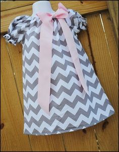 Gray Chevron Peasant Dress-Easter. $35.00, via Etsy.