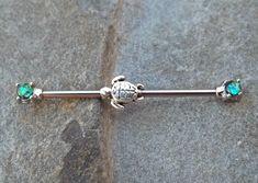 Turtle Tiny Fire Opal Industrial Barbell 14ga Industrial Piercing Body Jewelry Ear Jewelry Double Piercing - BodyDazzle - 2