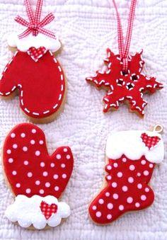 #Christmas #cookies ToniK ℬe Meℜℜy red  white cakeshautecouture.com