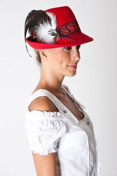 Damen Trachten Hut, rot, mit Feder, Damenmode Trachten, Accessoire zu Dirndl oder Lederhose, Wiesn-Hut