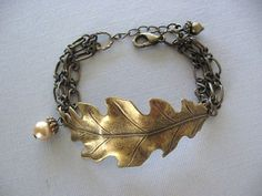 Leaf Bracelet Leaf Jewelry Oak Leaf Bracelet Oak JewelryAcorn Jewelry Antique Bracelet Cuff Bracelet Woodland Chain Bracelet. $24.00 via Etsy.