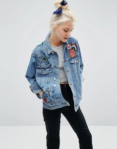 ASOS | ASOS Denim Girlfriend Jacket In Illustrated Mid Wash With Badges at ASOS