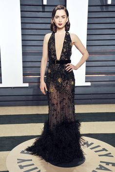 Lily Collins In Elie Saab - At the Vanity Fair Oscar Party