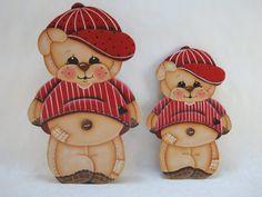 Baseball Bear Teddy Bear fridge magnet or shelf by ByBrendasHand