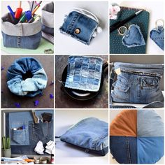 Diy Jeans, Recycle Jeans, Jean Crafts, Diy And Crafts, How To Make Scrunchies, Denim Shop, Recycled Denim, Textiles, Refashion