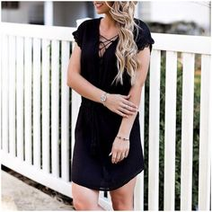 **** Stitch Fix April 2017! Black lace shoulder detail babydoll dress! Get great looks just like these from Stitch Fix today! Stitch Fix Fall, Stitch Fix Spring, Stitch Fix Summer 2016 2017. Stitch Fix Spring Summer fashion. Resort Wear #StitchFix #Affiliate #StitchFixInfluencer