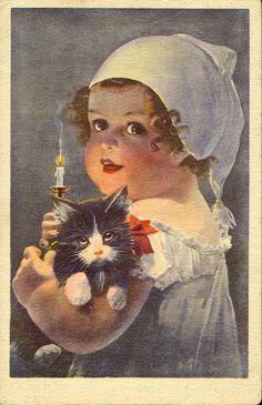 Baby Girl with her Kitten