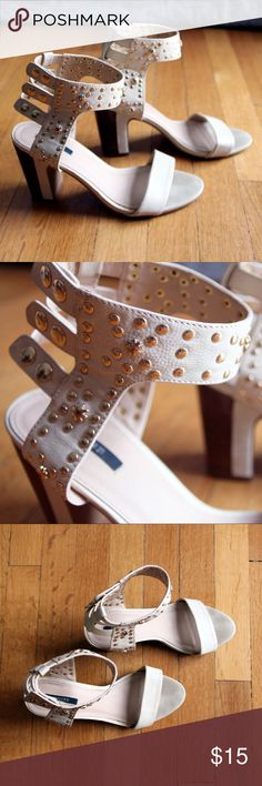 Studded Nude Ankle Strap Block Heels Gold studded ankle strap block heels in nude. Ankle straps fasten with snaps. The wood block heel makes these both casual and dressy! Forever 21 Shoes Sandals