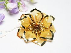 Mesh Flower Brooch in Goldtone New Old Stock or by LorettasCache, $19.00