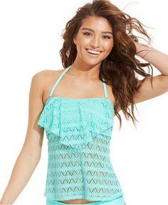 Hula Honey Crochet Flounce Bandeau Tankini Top