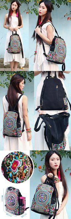 Ethnic Embroidery Backpack