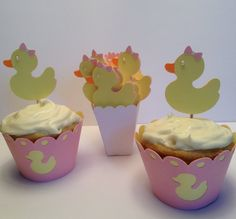 Rubber Ducky cupcake toppers and wrappers for your Baby Shower!