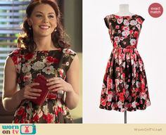 AnnaBeth's black and red floral dress on Hart of Dixie. Outfit details: http://wornontv.net/15261/