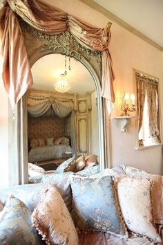 fabric inspiration for living room  Greystone Court - Boudoir with lavish silk-swagged Rococo mirror.