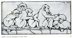 anton  Pieck houtsnede apen 1924