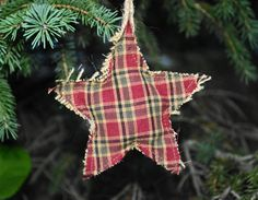 Plaid and Burlap Star Ornament by jbarbdesign on Etsy, $14.00