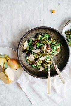 charred broccoli + red onion salad w/ shaved apples + arugula   dolly and oatmeal