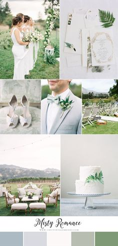 Misty Romance - Elegant Wedding Inspiration in Soft Shades of Grey & Green - Chic Vintage Brides - Wedding Time Summer Wedding Colors, Green Wedding, Chic Wedding, Elegant Wedding, Wedding Colours, Wedding Themes, Wedding Styles, Wedding Ideas, Wedding Details
