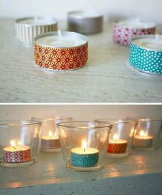 99 Washi Tape Ideas: What Can You Decorate With Them? - DIY - Do it yourself - Selber Machen - Europaletten - decorate your own tea light candle holder washi tape - Washi Tape Cards, Washi Tape Diy, Masking Tape, Duct Tape, Diwali Diy, Happy Diwali, Diy Mehndi Decorations, Tape Crafts, Fun Crafts
