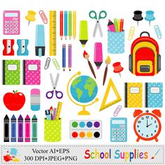 School Supplies Clip Art Back to School Graphics Stationery Vector Clipart, Stickers, School Supplies, Art Supplies, Card Making, Stationery, Etsy, Prints, White Backgrounds