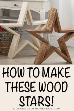 How To Make Wooden Stars! How To Make Wooden Stars!,DIY Woodworking Wood stars are super easy and super trendy! With a little paint and/or stain, the possibilties are endless. Kids Woodworking Projects, Diy Woodworking, Woodworking Equipment, Woodworking Patterns, Woodworking Machinery, Woodworking Classes, Woodworking Videos, Woodworking Plans For Beginners, Diy Projects Plans