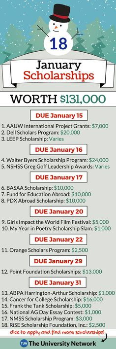 January Scholarships Here is a selected list of January 2019 Scholarships. – College Scholarships Tips Scholarships For College Students, School Scholarship, Graduate School, College Dorm Essentials, College Checklist, College Planning, College Club, College Life Hacks, College Dorms
