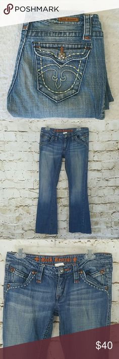 "Rock Revival boot cut jeans Great Rock Revival jeans with button flap back pockets, they have raw edged hem 30"" inseam Rock Revival Jeans Boot Cut"