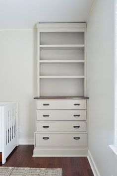Almost done with the built-ins. Just had to add crown. Use a dresser as the base & build this!