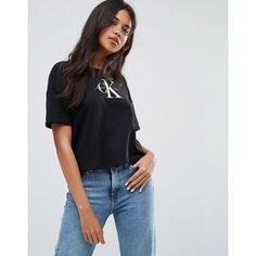 Calvin Klein Jeans Cropped T-Shirt with Logo (€61) ❤ liked on Polyvore featuring tops, t-shirts, black, jersey t shirt, crew neck tee, cotton jersey t shirt, tall tees and monogram t shirts