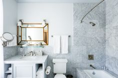 Guest bathroom at Hotel Ella, a historic boutique hotel in Austin, Texas. Photo by Jake Holt.
