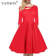 YATHON 2017 Elegant Cotton Blend Pin Up Business Casual Office Working Dress Womens Vintage Fit And Flare 3/4 Sleeve Keyhole Neck Solid Tunic Slim Big Swing Club Party Ball Skater Dresses   Robe Femme