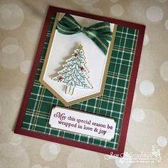 Stampin' Up! Homemade Christmas Cards, Christmas Cards To Make, Christmas Greeting Cards, Handmade Christmas, Homemade Cards, Holiday Cards, Christmas Trees, Plaid Christmas, Christmas Presents