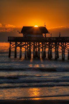 Cocoa Beach Pier in Florida, USA   Sunset