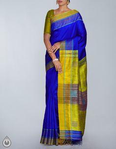 7e641eb09b Blue and Yellow Pure Handloom Muga Tussar Saree,It has got ghicha woven  multicolor elegant