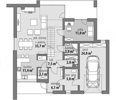 Projekt domu Oliwia 151,6 m2 - koszt budowy - EXTRADOM Floor Plans, Home Layouts, Floor Plan Drawing, House Floor Plans