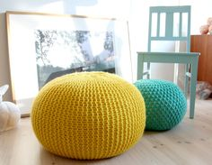 Click Pic for 16 DIY Floor Cushions -  Lemon & Lime Knitted Poufs - DIY Floor Pillows & Poufs