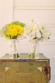 Love the color combination, the use of wild flowers, and the simple appeal of a mason jar
